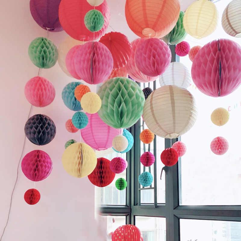 5 Buah 6 Inch (15 Cm) jaringan Kertas Honeycomb Bola Dekorasi untuk Pesta Ulang Tahun Pernikahan, Baby Shower, Aniversary Rumah Tahun Baru Dekorasi