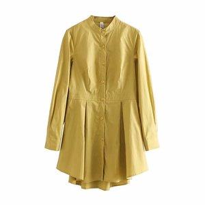 Image 2 - Vadim נשים שיק לבן ארוך חולצה סימטרי ארוך שרוול צווארון עומד קפלים חולצה מוצק נקבה מקרית חולצות blusas LA465