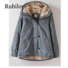 Rubilove Hood padded parka winter jacket women coat Fur warm pocket zipper overcoat Snow wear thick female