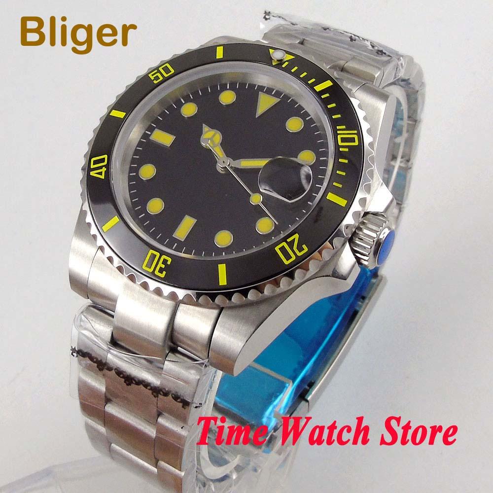 Bliger 40mm Miyota 8215 automatic wrist watch men sapphire glass waterproof black dial yellow marks luminous ceramic bezel 107