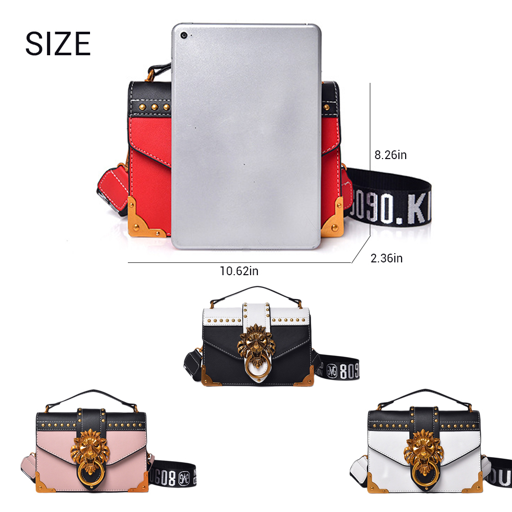 Hb58e6346d7fc4784a8b5dd4b9485e122W - Fashion Metal Lion Head Mini Small Square Pack Shoulder Bag Crossbody Package Clutch Women  Wallet Female Handbags