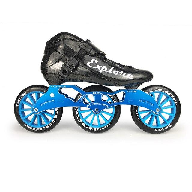 ISPORTS 속도 인라인 스케이트 탄소 섬유 경쟁 스케이트 3*125mm 또는 4*100/110mm 스트리트 레이싱 스케이트 Patines 롤러 블레이드 SH56