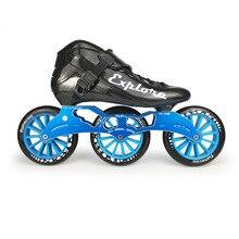 ISPORTS hızlı tek sıra tekerlekli paten karbon Fiber yarişma Skate 3*125mm veya 4*100/110mm sokak yarışı paten Patines paten SH56