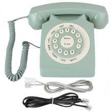 Teléfono fijo antiguo europeo Vintag, llamada de alta definición, verde, botón transparente grande, teléfono portátil, teléfono fijo
