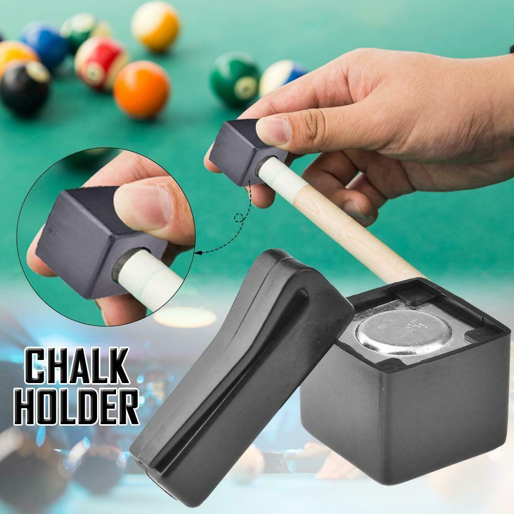 2Pcs Pool Billiards Snooker Magnetic Cue Chalk Holder Case With Belt Clip