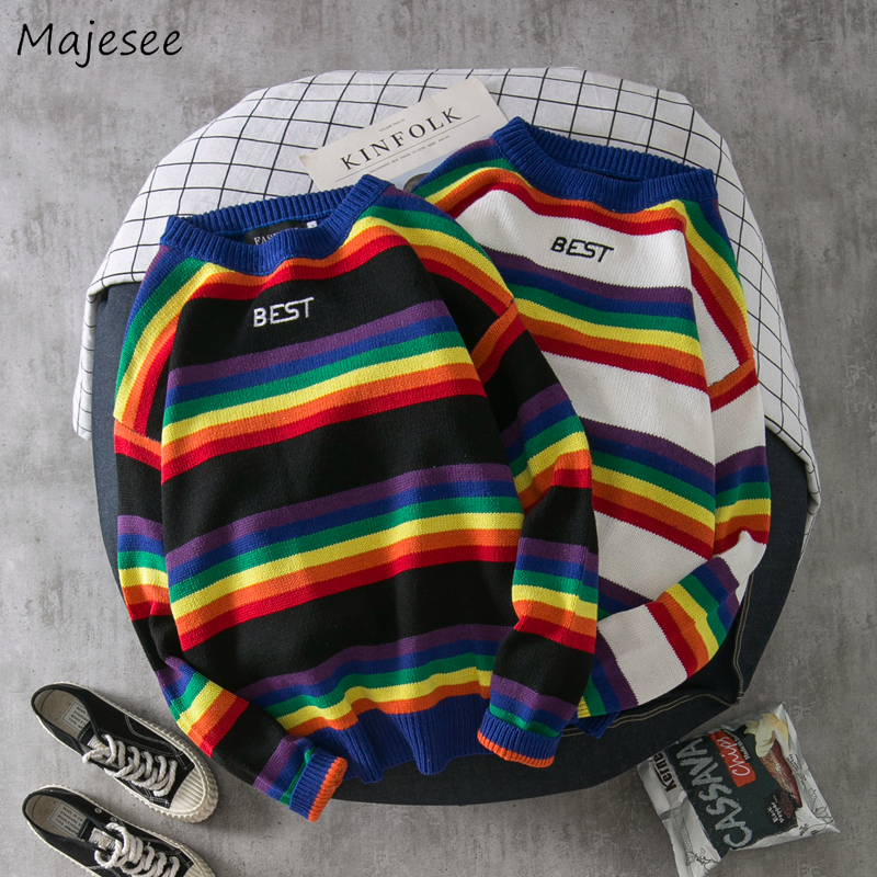 Pullover Men Korean Clothes O-neck Casual Plus Size Sweater Mens Sweaters Rainbow Striped Pullovers Winter Hot Sale Harajuku Top