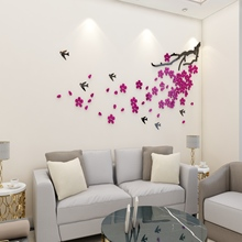 Wall Sticker Acrylic Wall Sticker DIY Indoors Decoration Stereo Removable 3D Tree Art Wall Stickers Home Liviing Room Decor New 3pcs set 3d removable room decoration wall stickers