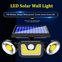 Outdoor LED Solar Wall Light Garden Lamp PIR Motion Sensor Waterproof Solar Power Exterior Night Lights Yard Garden Decoration