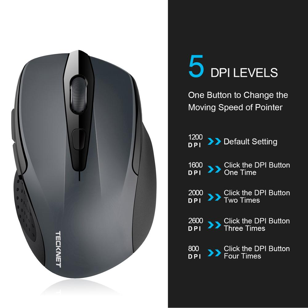 Image 2 - TeckNet Bluetooth Wireless Mouse 24 Month Battery Life Mouse Bluetooth 1200/1600/2000/2600DPI for Laptop Windows 10 8 7 XP-in Mice from Computer & Office