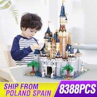 DHL MOC 8384pcs Cinderella Princess Castle City set Model Building Block Kid DIY Toy Christmas Birthday with lepining 71040 toys