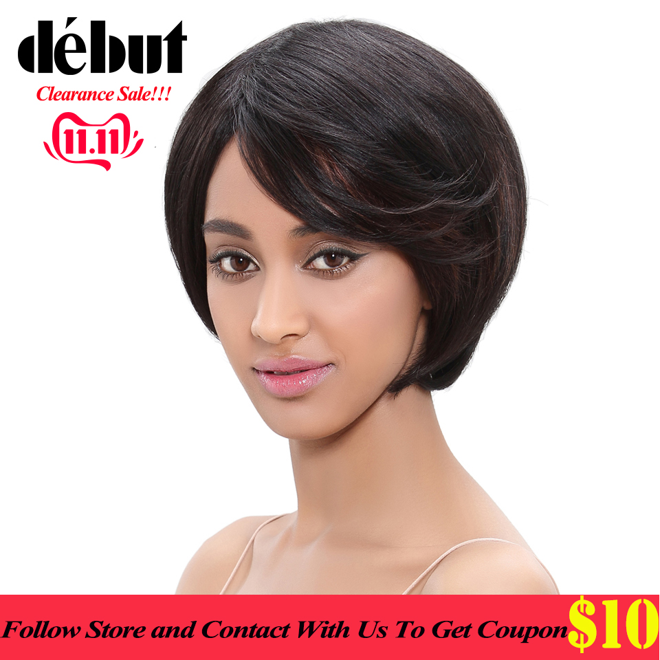 Debut Short Bob Wigs For Black Women Brazilian Straight Remy Human Hair Wigs Free Shipping