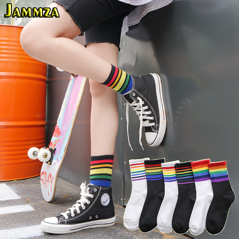 Rainbow Socks Woman Cotton White Sock Women Colorful Striped Ladies Hiphop Style Fashion Harajuku Skateboard Sporty