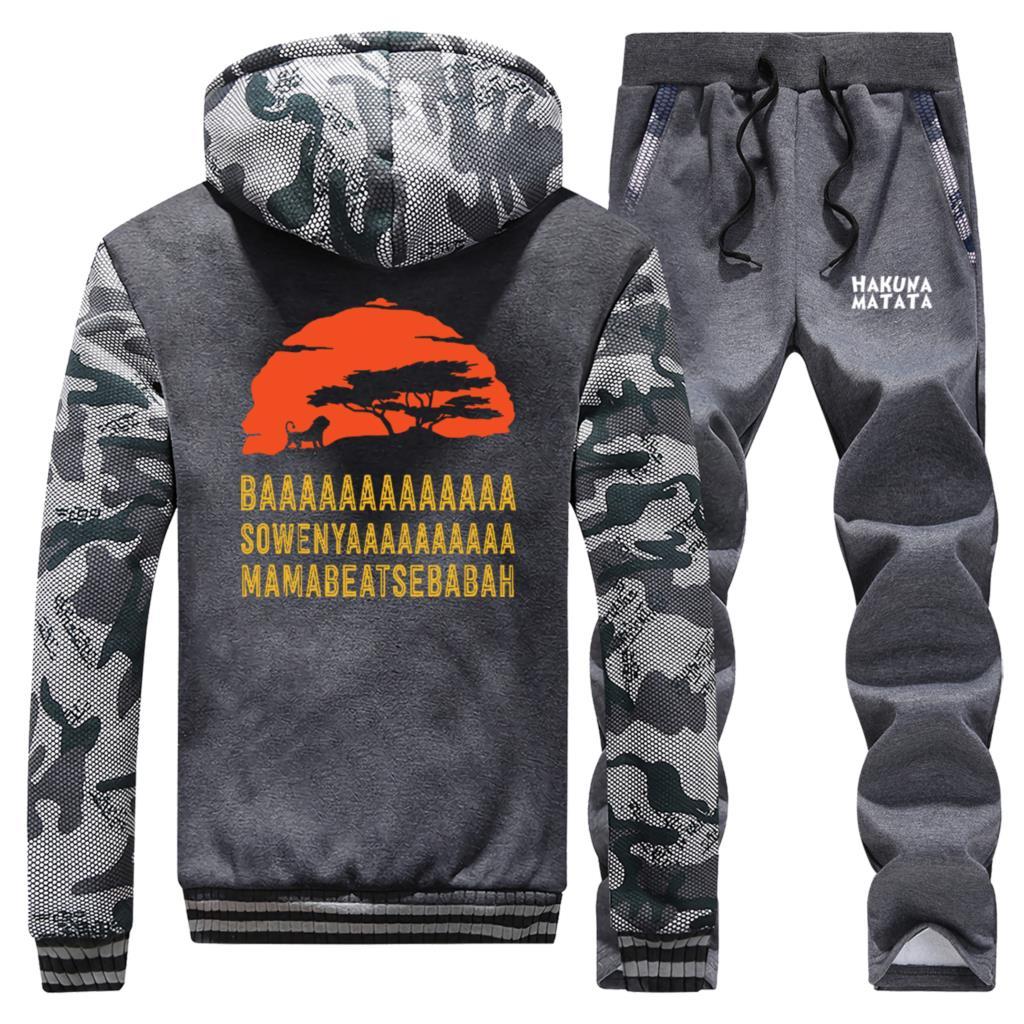 Men Warm Sports Suit Jungle Lion King Sunset Men Jacket+Sweatpants 2 Piece Sets Thick Hoodies Brand Jacket Zip Trousers Clothing