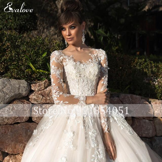 EVALOVE Elegant Scoop Neck Full Sleeve A-Line Wedding Dress Gorgeous Appliques Vintage Bridal Gown Custom Princess Wedding Gown 5