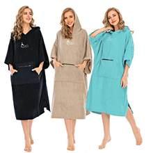 Algodão mudando robe com capuz poncho praia surf natação secagem mudança toalha esportes aquáticos wetsuit para mulher