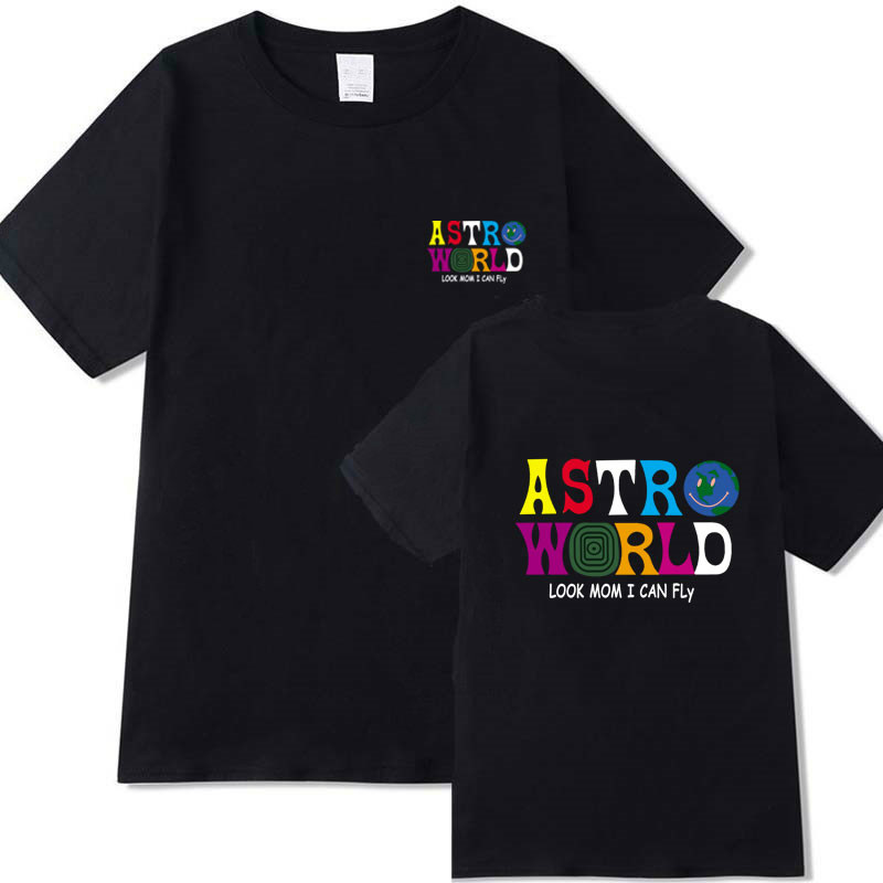 Streetwear ASTROWORLD T-shirt Fashion men women TRAVIS SCOTT ASTROWORLD LOOK MOM I CAN FLY short sleeve T-shirt letter tshirt(China)