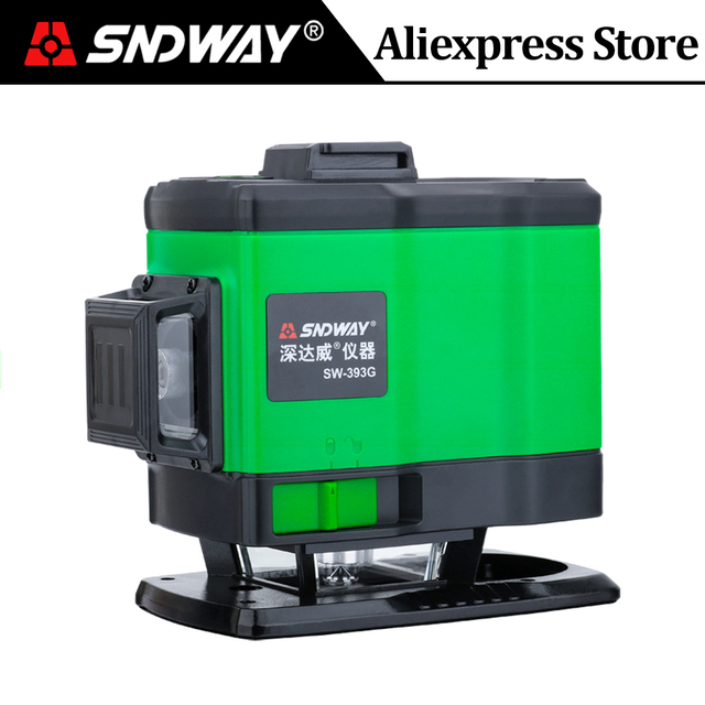 SNDWAY לייזר רמת 12 קווים 3D 360 תואר רוטרי צלב ירוק קרן אנכי ואופקי עצמי פילוס מכשירים קיר מדבקה