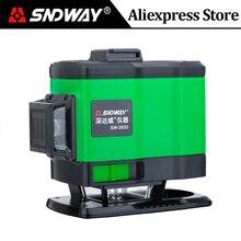 SNDWAY poziom lasera 12 linii 3D 360 stopni obrotowy krzyż zielona wiązka pionowy i poziomy samopoziomujący instrumenty naklejka ścienna