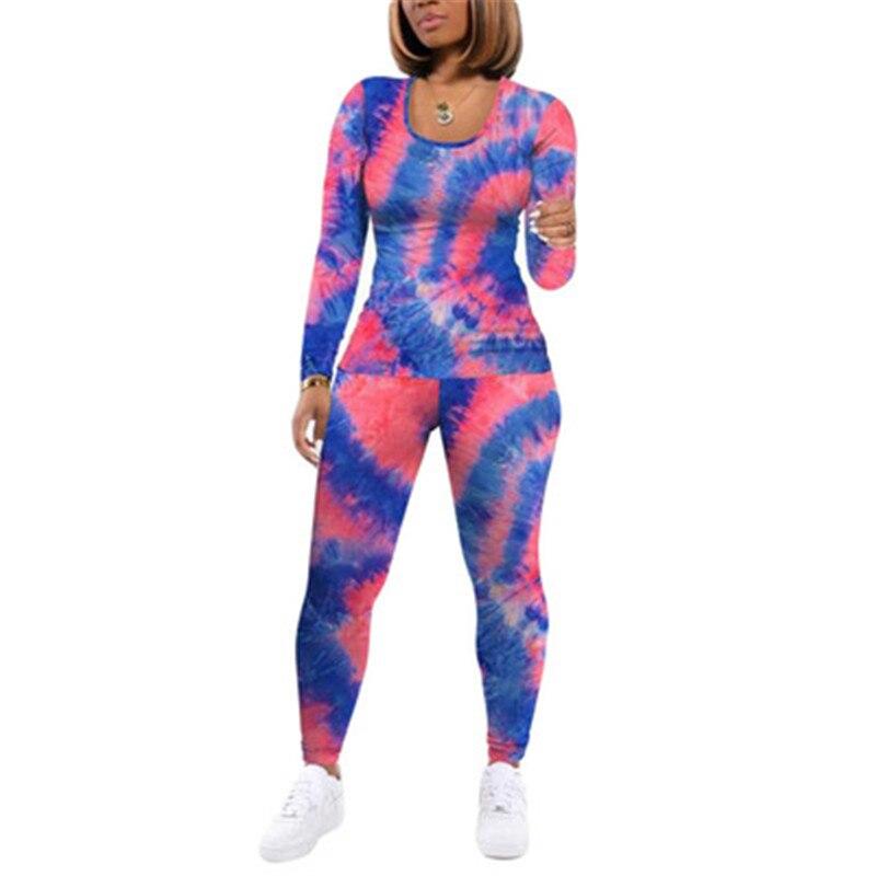 Tie-Dye Zwei Stück Set Frauen Herbst Kleidung Casual Sportswear 2 Stück Outfit für Frauen Schweiß Anzug Langarm top und Hosen Sets