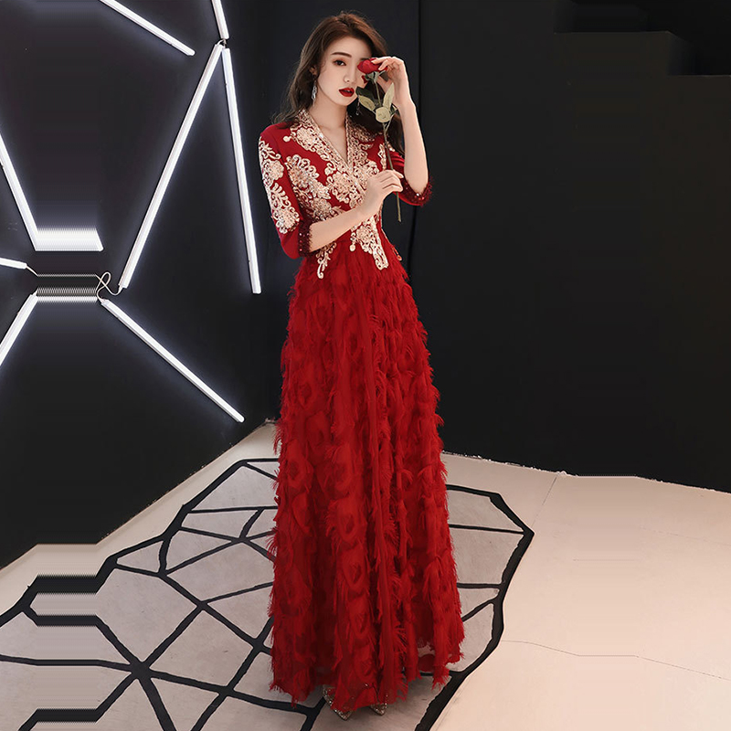 V-Neck Evening Dresses K372 Burgundy Appliques Women Party Gowns 2020 Half Sleeve Robe De Soiree A-Line Long Formal Vestidos