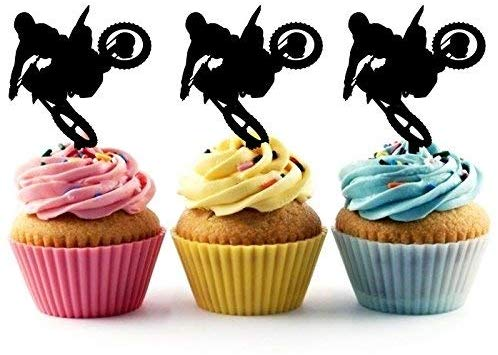 Marvelous Motocross Racing Sport Silhouette Acrylic Cupcake Toppers 24 Pcs Funny Birthday Cards Online Alyptdamsfinfo