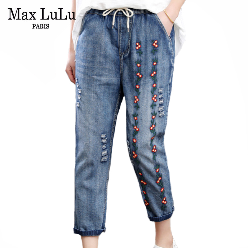 Max LuLu 2020 Fashion Summer Loose Elastic Harem Pants Ladies Embroidery Jeans Womens Casual Floral Ripped Denim Trousers XXXL