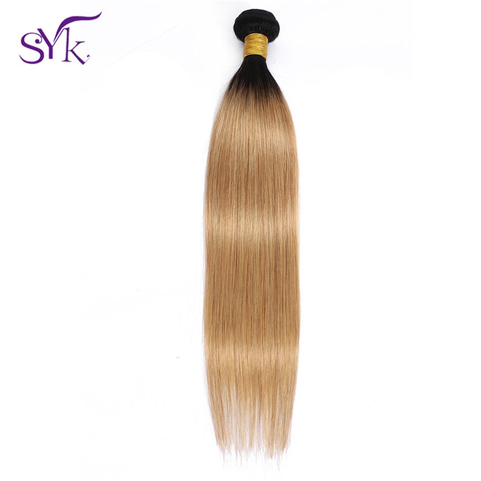 SYK Ombre Straight Hair Bundles Brazilian Human Hair Weave T1B/27 1 Piece Pre Colored 10