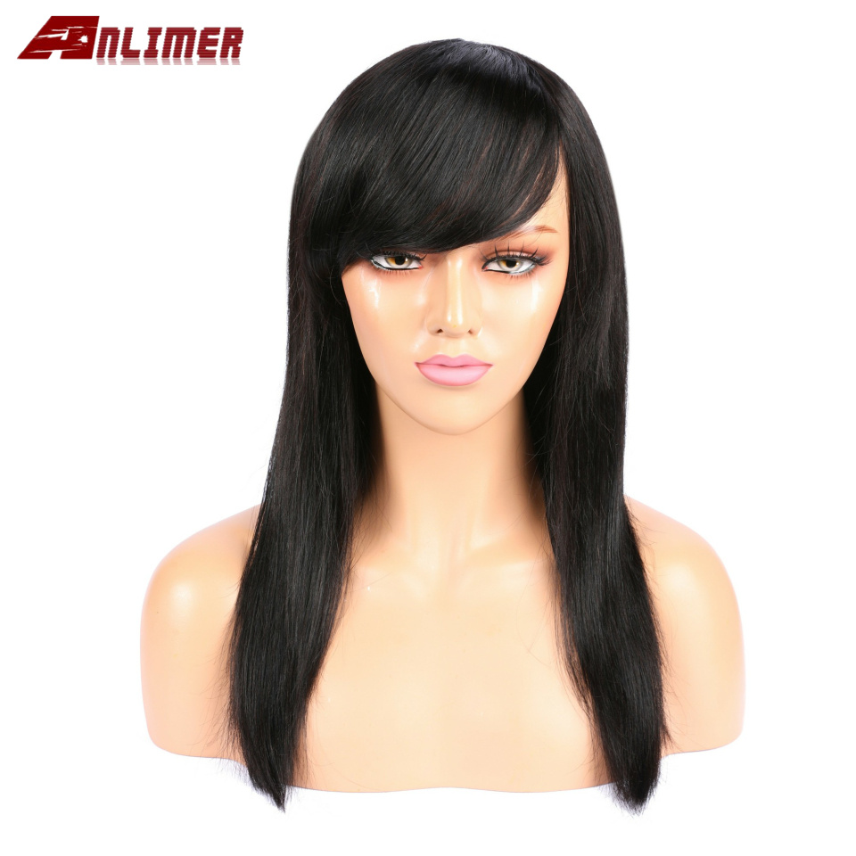 Anlimer Brazilian Remy Human Hair Full Lace Natural Color No Tangle Bleached Knots Pre Plucked For Women
