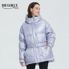 MIEGOFCE 2020 nuova giacca da donna invernale colori vivaci di alta qualità cappotto gonfio isolato collo Parka con cappuccio taglio sciolto con cintura