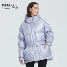 MIEGOFCE – Veste matelassée isolante, avec capuche et ceinture, pour femme, veste, parka, coupe ample, couleurs éclatantes, haute qualité, nouvelle collection hiver 2020