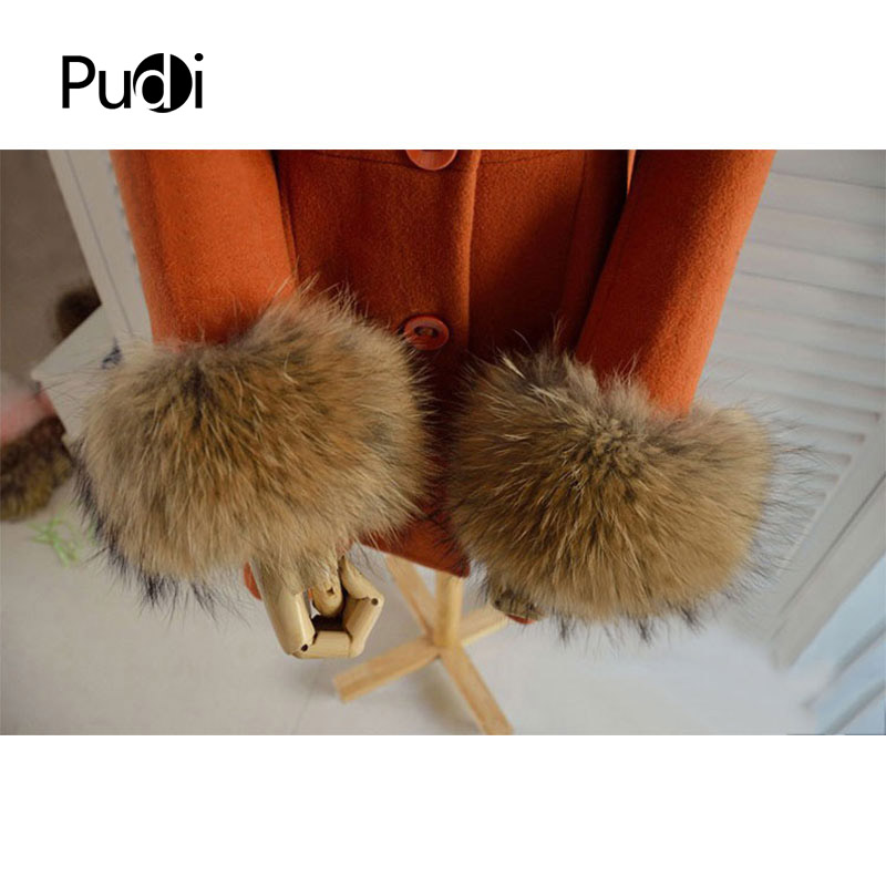 CUF703  Real Genuine High Quality  Raccoon Fur Cuffs Cuff  Arm Warmers 2 Colors