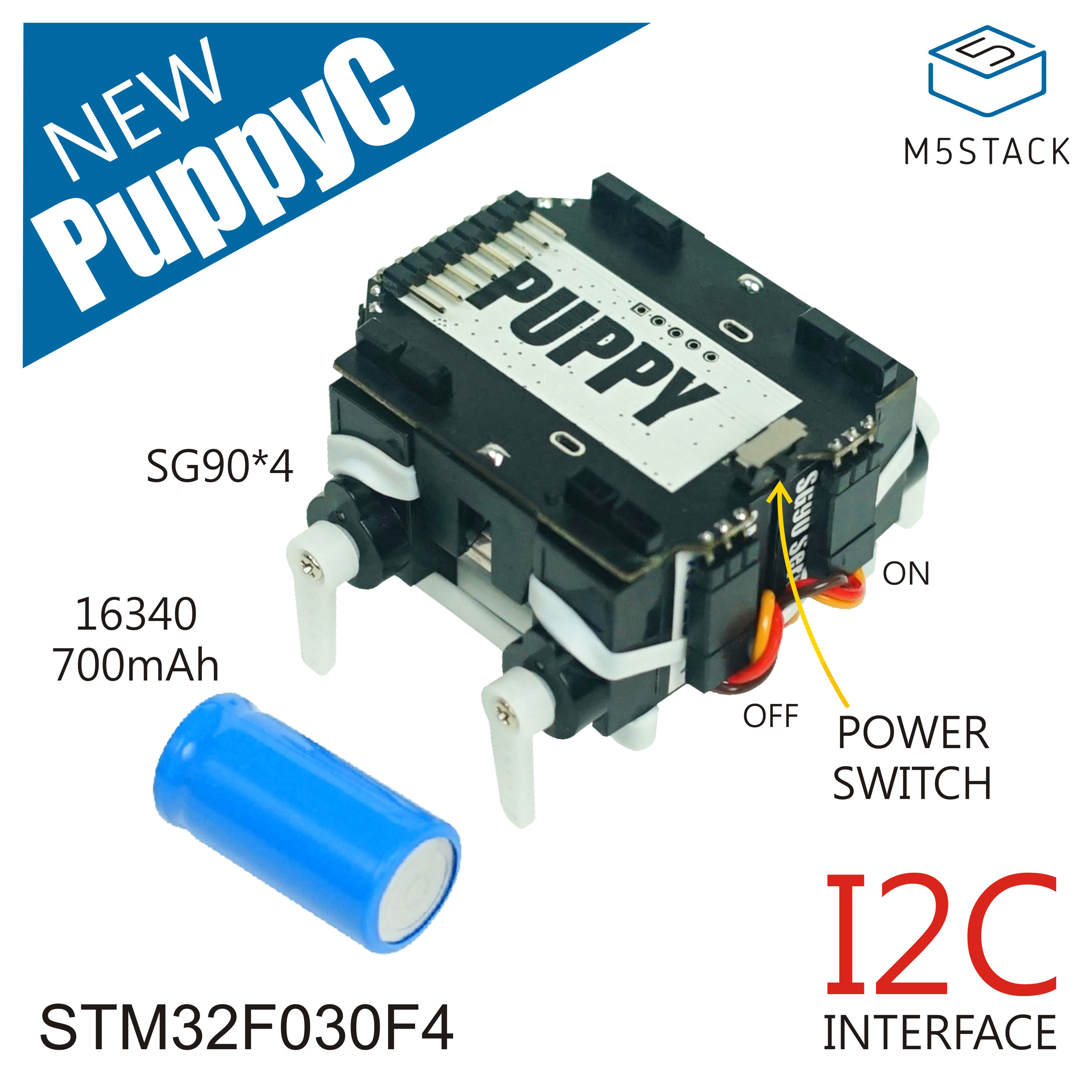M5Stack PuppyC Programmable Four-Legged Robot Base Compatible With M5StickC STM32F030F4 Microcontroller SG90 Servos Controller