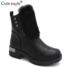 Cute eagle Girls Boots New Kids Natural PU Leather For Brand Princess winter Cotton Children Shoes EU SIZE 33--38