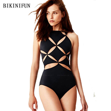 New Sexy Hollow Patchwork Swimsuit Women One Piece High Neck Bathing Suit S-XL Cross Bandage Swimwear Black Monokini