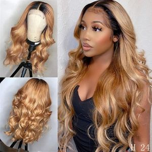 1B/27 Ombre Color Honey Blonde 13*4 Lace Front Wig Brazilian Loose Wave Remy Human Hair Wigs Density 180% Pre Plucked Bleached