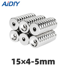 AI DIY 5/20/50Pcs 15x4mm Hole 5mm N35 Super Strong Rng Countersunk Magnets Permanent Neodymium Rare Earth Magnet 15*4-5mm