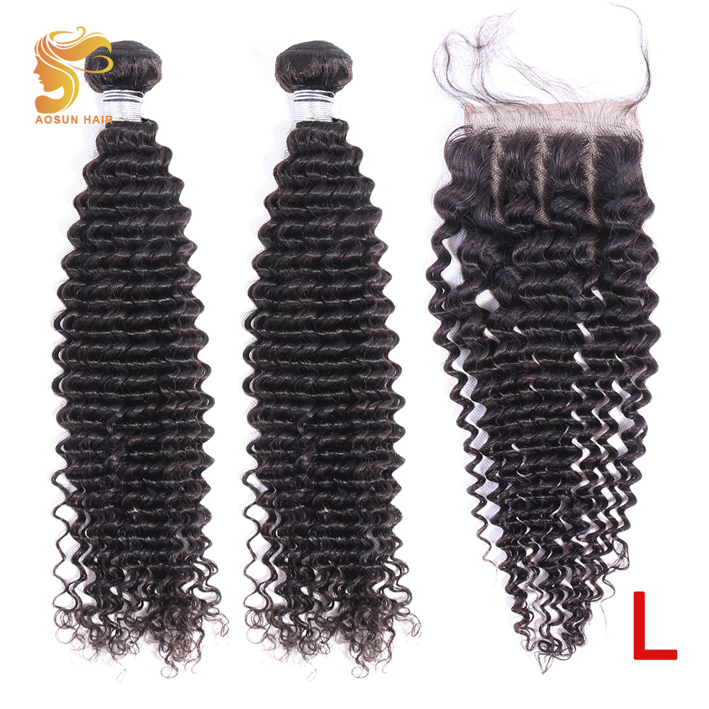 AOSUN HAIR Brazilian Hair Weave Bundles Curly Hair With Closure 100% Human Hair Extension 8-26inch Natural Color Low Ration Remy