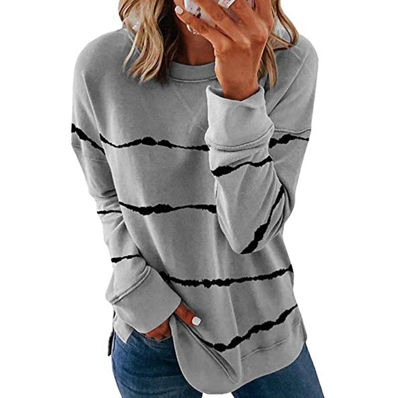 plus size 5XL Women Stripe T Shirt Casual Long Sleeve Oversized Loose Tee Shirt Fashion o neck Ladies Top Autumn Tops