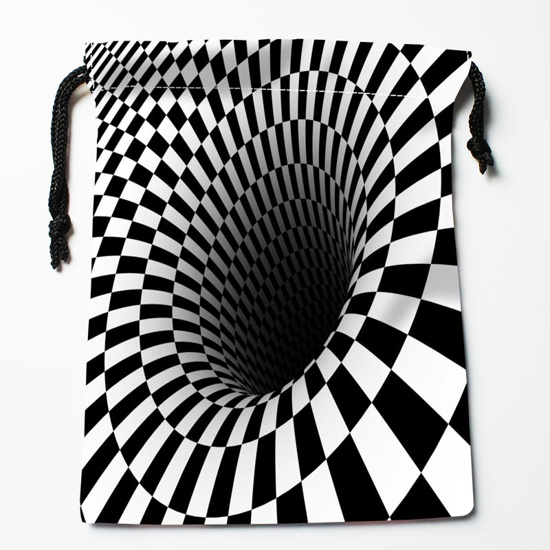 Nice Custom Black And White Pattern Printed Satin Storage Bag Drawstring Gift Bags More Size Storage Custom Your Image 27x35cm