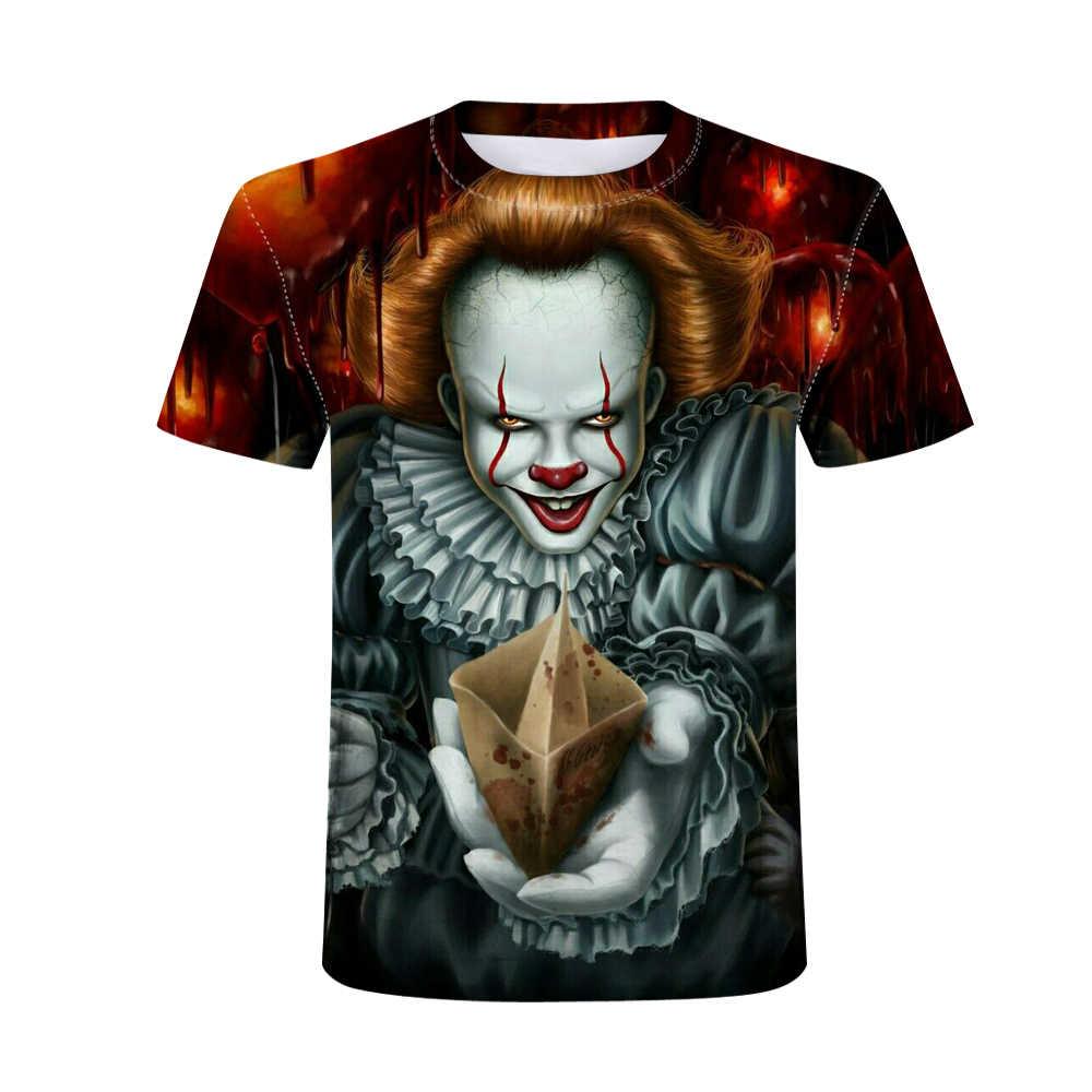 Badut Steven King Dicetak Pria T-shirt Pria dan Wanita Pennywise Kepribadian Kreatif T Shirt Film Horor Lucu TEE Tops Halloween