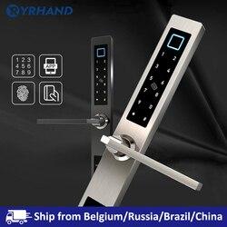 Европейские водонепроницаемые Биометрические дверные замки отпечатков пальцев электронный умный дверной замок RFID код карты замок для алю...