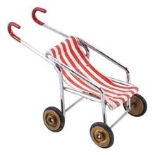 Горячая-кукольный домик Миниатюрный 1:12 игрушка Красная полосатая детская коляска длина 6 см