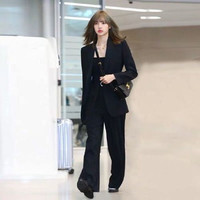 2019 Early Autumn INS South Korea Star Celebrity Style Lisa South Korea Small Suit Fashion Loose Pants WOMEN'S Suit Fashion