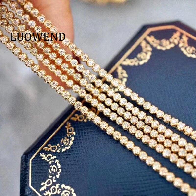 LUOWEND 18K Au750 Solid Yellow Gold Bracelet Real Natural Diamond Bracelet Fashion Tennis Bracelet Fine Jewelry Customize 1