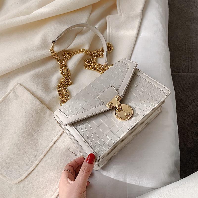 Stone Pattern PU Leather Crossbody Bags For Women 2020 Chain Fashion Small Shoulder Messenger Bag Female Lock Handbags