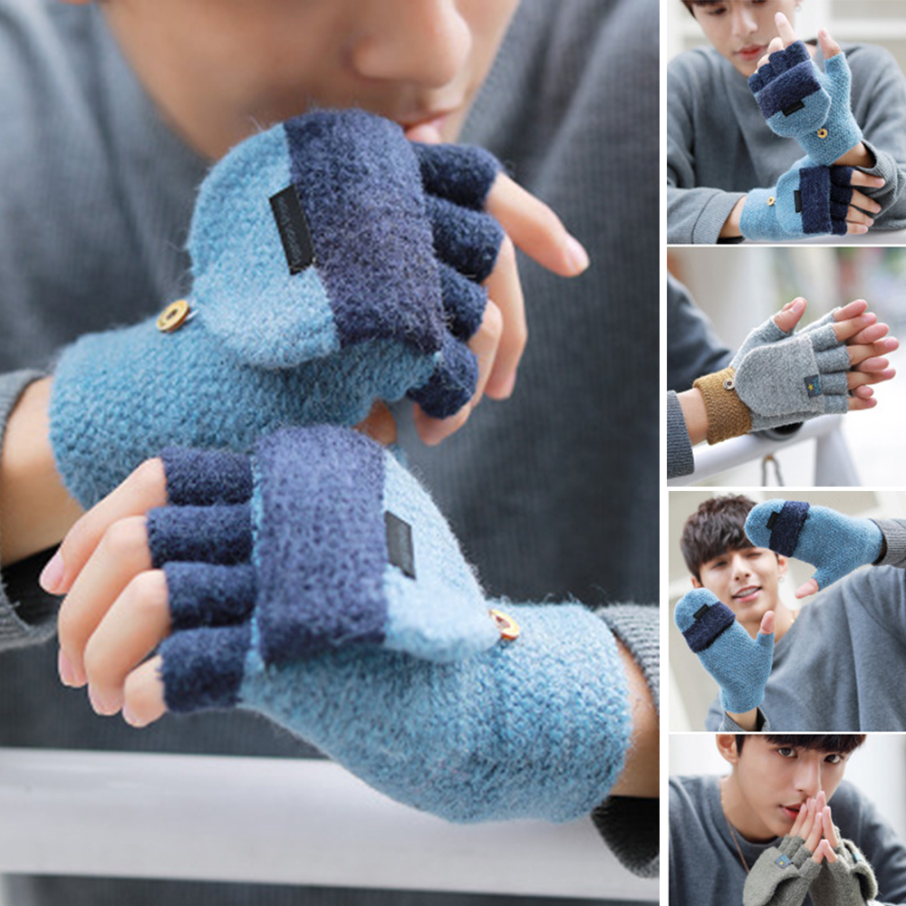 HO-KLOSS Korean Winter Gloves Couple Men Thickening Knitted Wool Flip Fingerless Exposed Finger Casual Mittens Women Unisex