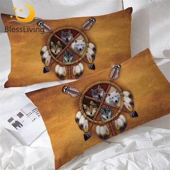 BlessLiving الذئاب زاك كيس وسادة الذئب وسادة نوم غطاء البرية الحيوان القبلية 3d الزخرفية المخدة 2 قطعة