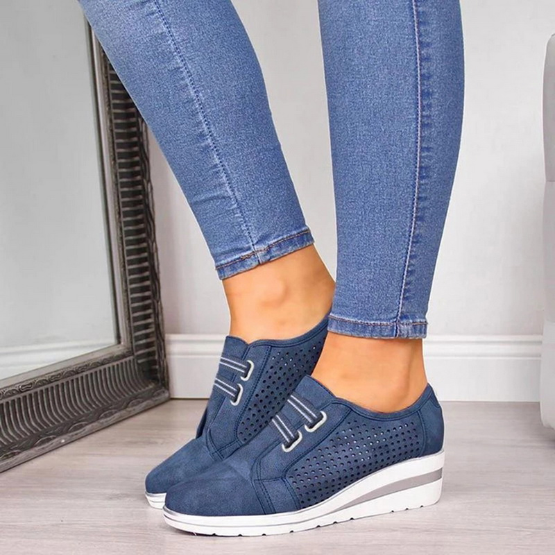 2020 Flock New High Heel Lady Casual Women Sneakers Leisure Platform Shoes Breathable Height Increasing Shoes Women Flats