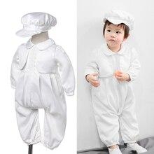 Ropa de satén blanco para bebé, monos con gorro para recién nacido, conjunto de trajes para primer cumpleaños, ropa de fiesta de bautizo