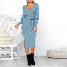 women dress 2019 knitted long dress autumn winter ladies sexy v-neck sweater dress party dress long sleeve 3xl large size dress